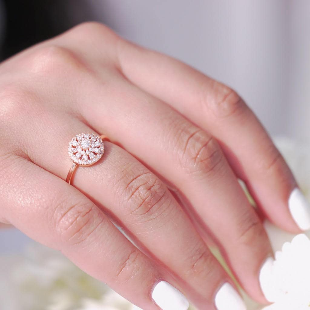 Round Delicate Rose Gold Ring with Circular Design on 925