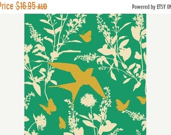 ON SALE Joel Dewberry Fabric - 1 Metre Bungalow -  Swallow Study in Emerald / Free Spirit Fabric