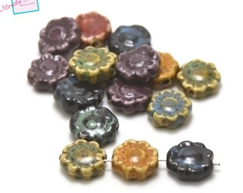 "ceramic beads 10/20/30 ""flower"" 17 x 17 x 7 mm, assorted colors"