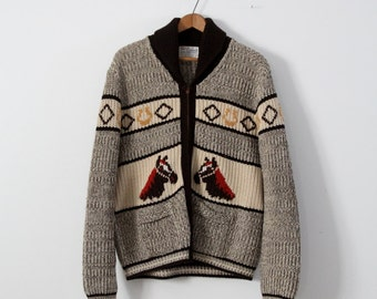 vintage horse sweater,  1950s A Caldwell chunky knit cardigan,  Men's Large