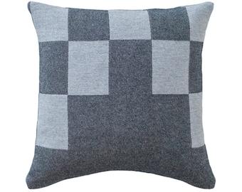Merino Lambswool Bloc Cushion - Pebble