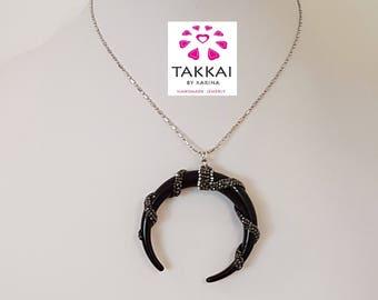 Plastic Moon pendant-double horn black with rhinestone