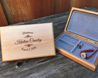 4 Custom Jewelry Boxes, Personalized Bridesmaid Gifts, Maid of Honor Gifts, Flower Girl Gifts, Custom Bridal Gifts, Engraved Jewelry Box ETY
