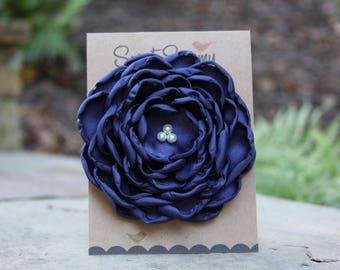 34 Colors Large Satin Flower Pin, Navy Satin Flower Pin
