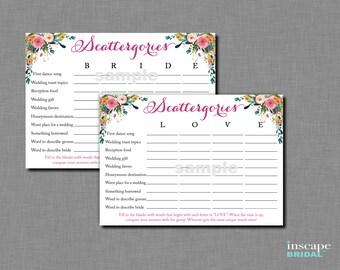 Printable Bridal Shower Scattergories Game, 2 Unique Variations - LOVE & BRIDE, Floral Bridal Shower, Downloadable Garden Bridal Shower Game