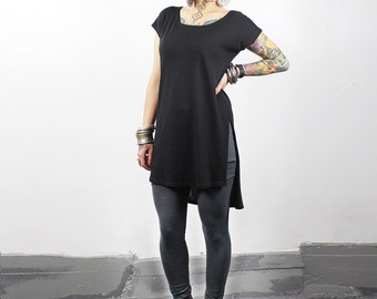 High Side Split Top Oversized Hi Low Tunic Dress in Black - Made To Order