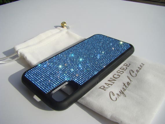 iPhone X Case , Blue Sapphire Rhinestone Crystals on Black Rubber Case. Velvet/Silk Pouch Bag Included, .