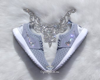 2016 Bling Women's Nike Juvenate Made with SWAROVSKI® Crystals - Wolf Grey/White/Cool Grey Diamond Print