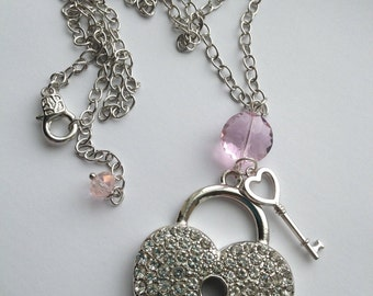 Key to My Sparkly Heart Charm Pendant Necklace, I Love You, Romance, Pink, Bling, Rhinestones, Be Mine, I Love You, Adore, Gift, Fiance