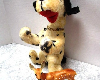 Vintage Dog Plush Toy, Stuffed Animal, Child's Security Well Worn Lovey, w/ Black Spots + Floppy Ears, Beagle Hound, Similar to Snoopy