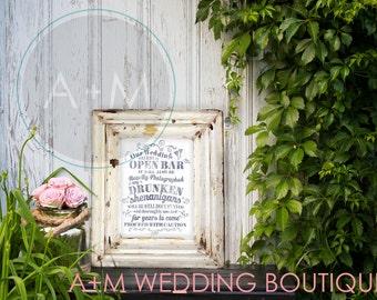 Wedding Sign Signage Printable / Funny Open Bar Warning/ Drunken Shenanigans // Rustic // Navy Blue on White  //  11x14