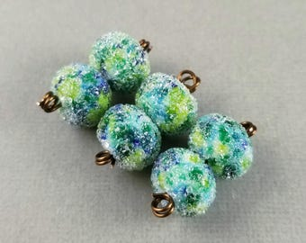 Sea Breeze Sugar - Frosted Lampwork Bead Pair Iced Sugared