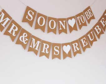 Wedding, Engagement, Bridal shower decoration, Soon to be Mr and Mrs bunting personalised
