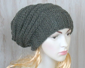 Womens Winter Hat, Hand Knit Hat, Slouchy Knit Hat, Winter Beanie, Mens Winter Hat, Mens Slouchy Beanie, Mens Slouch Beanie, Ski Hat