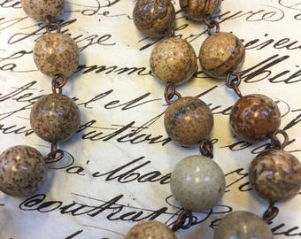 2 feet of 10mm Jasper Chain, easy open beaded chain, round bead, lovely brown and beige colors, picture jasper chain, beaded chain