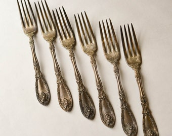 Silver Plate Forks, Grapevine Pattern, La Vigne Forks Set of 6 Rogers 1881 Silver Plate Grapevine Pattern