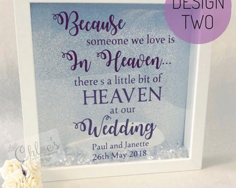 Memorial frame, Wedding Keepsake, Loved one memory frame, Memorable gift, Personalised frame, Feathers appear, Angels are Near, Heaven frame