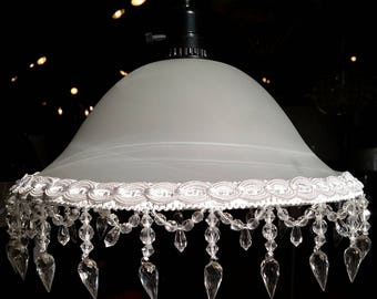 """Antique Vintage Style Victorian Crystal Beaded Fringe Frost & White Swirls Glass Swag Lamp or Pendant Light - Plug In or Direct Wire 13-16""""W"""