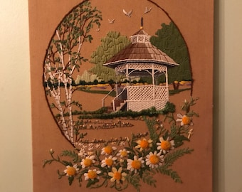 vintage hand embroidered gazebo w/ flowers!