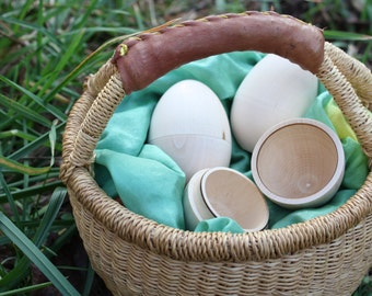 6 DIY Hollow Wooden Eggs - half dozen - 3.40 each