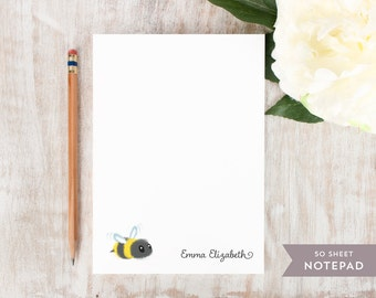 Personalized Notepad - BUMBLE BEE  - Stationery / Stationary Notepad - youthful children girls boys baby cute