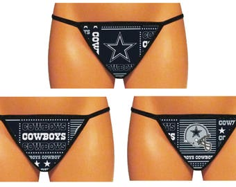 Dallas Cowboys Thong/G-String (Navy - Made From 100% Cotton Licensed NFL Fabric)