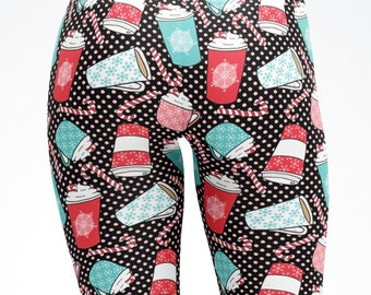 Kids Adult Christmas Leggings Xmas Coffee Latte Candy Canes Mom and Me matching Yoga Pants Capris Children Teen dance pants active wear 5100