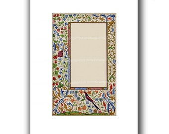 Illuminated Manuscript Page for Parties Wedding Invitations Engagements Menus Save the Date Blank DIY Stationery Florentine Design 868