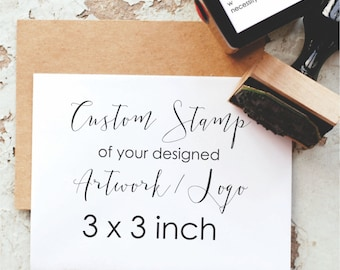 Custom Stamp 3x3 Inches-  3 Inch Custom Logo Stamp, Business Card Stamp, Personalized Stamp - Custom Business Stamp, Custom Rubber Stamp