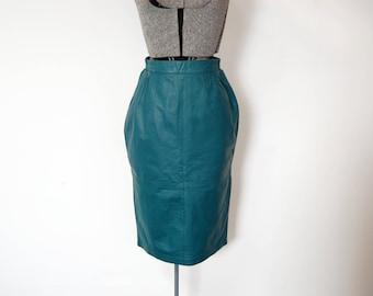 Vintage 1980s Diversity Jade Teal Green Leather Midi Skirt (Size 6)