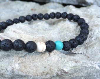 Lava stone and turquoise stretch bracelet for men, Gemstone bracelet, Mens braclets, Stone bracelet men, Gift for him, Drisain