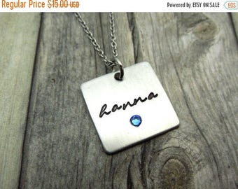 Holiday Sale Square Name necklace with birthstone crystal, personalized mothers necklace