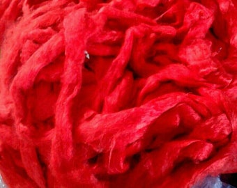 Red, scarlet Mulberry Silk, sold by the oz, bombyx, Roving, sliver, spinning fiber, art yarn, needle felting,tussah,sari, recycled