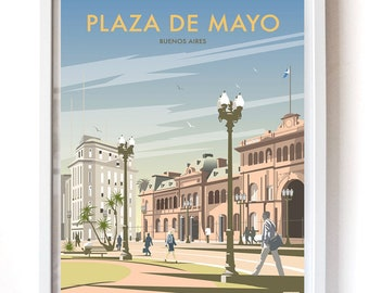 Plaza de Mayo, Buenos Aires –Vintage Travel Poster