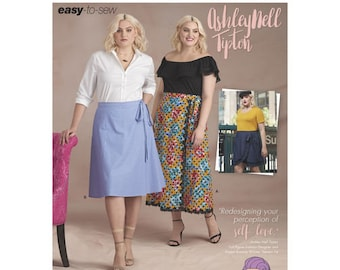 Sewing Pattern for Plus Size Women's Wrap Skirts by Ashley Nell Tipton, Simplicity Pattern 8612, Plus Size 18W to 34W, New Spring 2018 Line