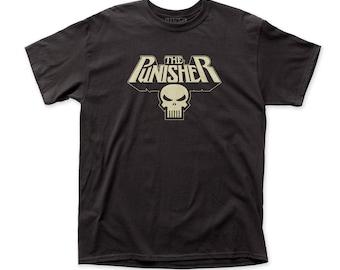 Punisher Glowing Logo Men's Traditional Fit 18/1 Cotton Tee (PUN14) Black
