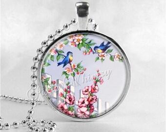 BLUEBIRD Necklace, Bird Necklace, Bluebird Pendant, Bluebird Jewelry, Blue Bird Necklace, Photo Art Pendant Necklace, Blue Bird of Happiness