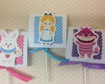 Alice In Wonderland Party Lollipop Favors - Set of 10