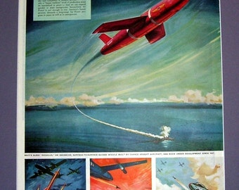 """Vintage Plane Sleek """"Regulus"""" Surface to Surface Guided Missile Aircraft Ad, Original Magazine Print Page, Airplane Ad, Air Force"""