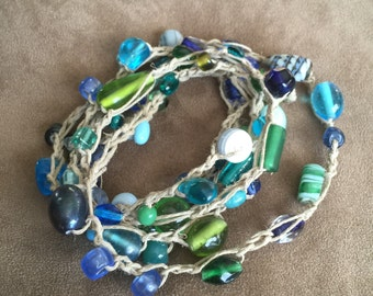 Hemp glass bead wrap bracelet or necklace