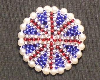 Union Jack Beaded Brooch 4