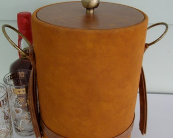 Vintage Brown Suede and Faux Leather Ice Bucket