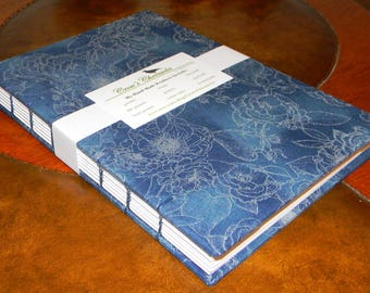 Medium Blue & Silver Floral Print Fabric Covered Coptic Stitch Bound Lined Journal 6x8 inch