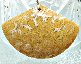 Fossil Coral Pendant. Fossil Coral Necklace. Agatized coral jewelry. Flower coral fossil sea petoskey stone