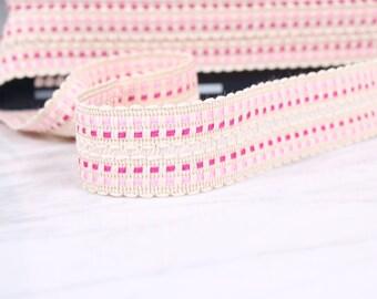 3 m tape pré-plié, bias, 35mm, acrylic and cotton, rose, (5041)