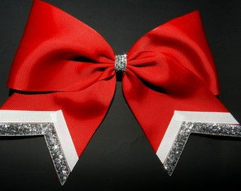 """3"""" Texas Size Cheer bow - single layer - trimed ends -  squad discounts red silver white"""