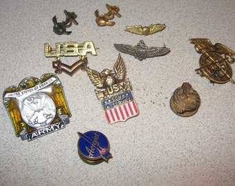 Lot of collectible Military and Misc Pins Vintage Antique #4170