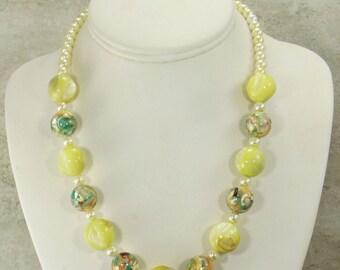 Jasper & Pearl Necklace, Handmade Statement Necklace, Jasper Gemstone Necklace, Bead Necklace, Yellow Jewelry, Bib Necklace, Chunky Necklace