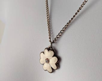 White Clover Flower Necklace on a silver curb chain