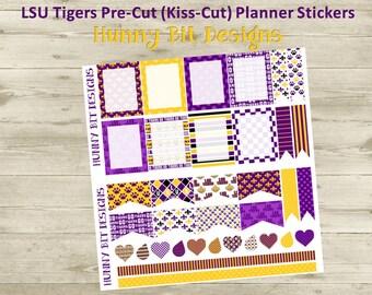 Erin Condren Planner LSU Tigers Football Precut Kisscut Peel and Stick Stickers Flags Rectangle Boxes Labels Purple Gold